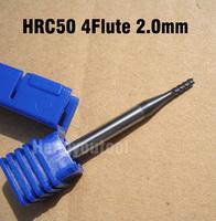 1pcs ZCCCT Brand Solid Carbide Coating TiAlN HRC50 4Flute Flat End Mills Cutting Dia 2.0mm Shank Dia 4mm Tools