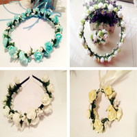 Free Shipping Rose Bride Accessory Hawaiian Foam Flowers Hair Bridal Wedding Flower Garland Blue White Artificial New YP0501-027