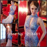 MM-01 2013New Arrival Hotsale Luxurious Sexy Halter V-neck Beads Crystal Mermaid Open Back Zuhair Murad Evening dresses