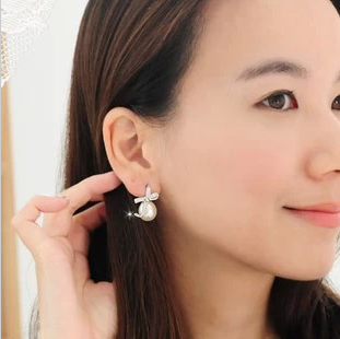 0031 accessories fashion bow tie big pearl bow stud earring earrings female(China (Mainland))