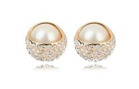 Rose Gold Plated Pearls and Rhinestones  Stud Earrings Pearls Earrings