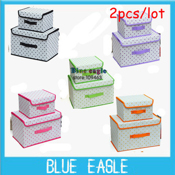 2013 free shipping round dots five colours Bamboo two-pieces Multifunctional foldable clothes storage finishing box storage bag