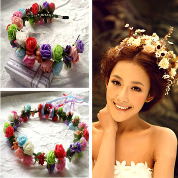 Free Shipping Boho Style Hawaiian Foam Flowers Hair Bridal Wedding Flower Garland Multicolor Rose Bride Artificial YP0501-028