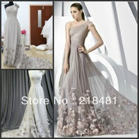 MM-04  2013 Custom Design Popular Sexy   Simple One-shoulder  Flowers Beautiful Evening dresses
