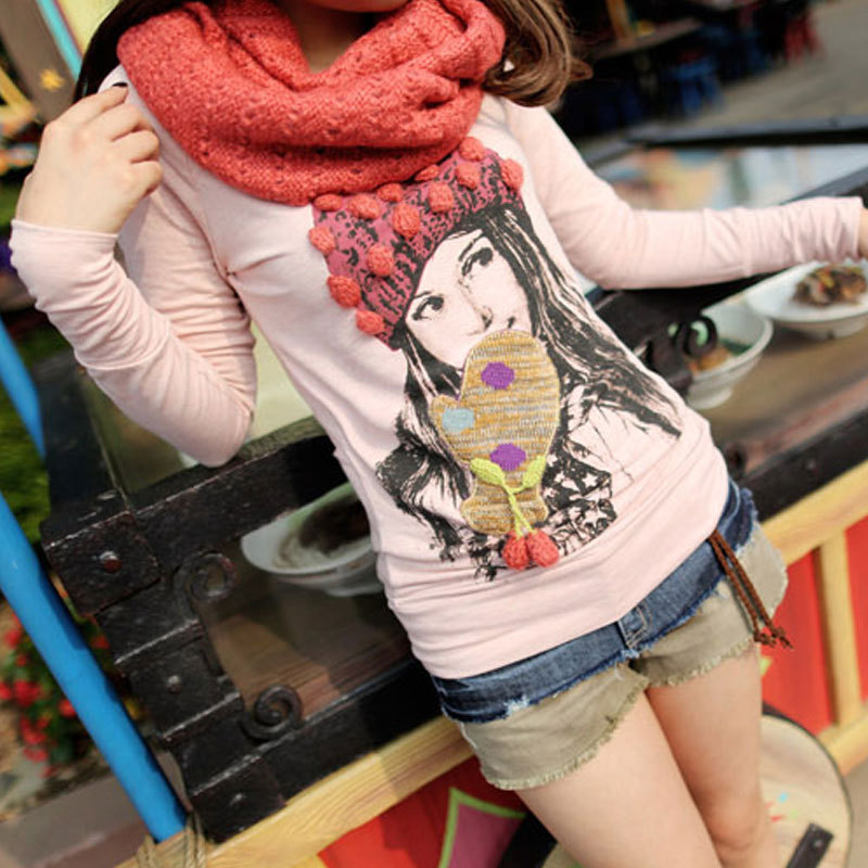 Fiina strawberry wool ball cap gloves girl t-shirt muffler scarf tx4082(China (Mainland))
