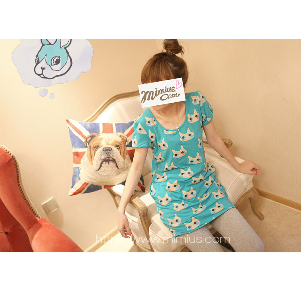 Fiinal wx1755 vitamin kitten print slim dress short-sleeve three-color(China (Mainland))