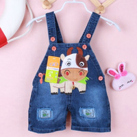 Free shipping kids overall shorts, with lovely cow, Child shorts ,bib pants denim pattern,fashion overall pants