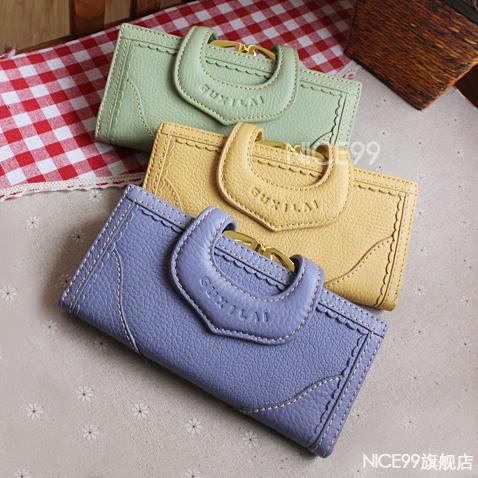 Vintage lace medium-long soft leather genuine leather lockbutton women's wallet 100% leather hasp small change folder(China (Mainland))