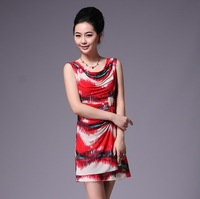 2013 fashion print one-piece dress mid-calf in plus size knee-length mini to maxi dress XS to XXXL dresses for women
