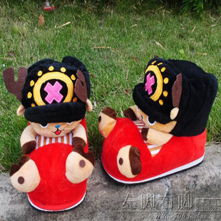 2 pairs free shipping to can Ai Qiaoba package with the cotton slippers Cartoon One Piece Creative tide slippers female high-top(China (Mainland))