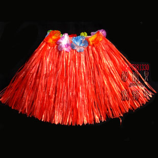 Christmas child performance wear hawaii hula skirt hula skirt show props national dance clothes clothing red(China (Mainland))