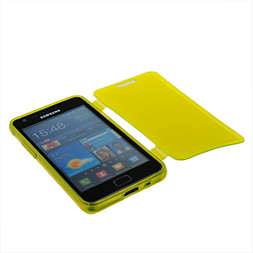 Nice delicate soft TPU silicone flip side of holding full case cover for Samsung GALAXY S2 luxury I9100 Free Shipping yellow(China (Mainland))