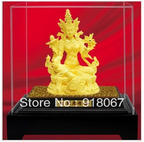 F8012 Free shipping gold craft/24K gold craft/art gift/ Tibet Tibetan Buddhism Green Tara Kwan-Yin Bodhisattva Buddha statue(China (Mainland))