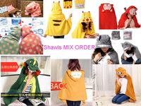 Retail 6 Colors Warm Cloak Monkey Dinosaur Ali Totoro Pikachu Bear Plush Soft Cloak air-condition Shawls Mix Order Free Shipping