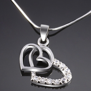 S925 pure silver necklace diamond necklace love pendant necklace double heart pendant necklace(China (Mainland))