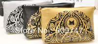 2013 british style women fashion vintage messenger bag envelope bag day clutch chain cross body bag black/gold/silver