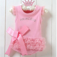 New Pink Bodysuit Princess Dress Kids Baby Girls One-piece T-shirt & Dress 0-36M Free shipping & Drop shipping XL026