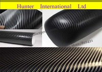Hot Sellling! 4D  Black Carbon Fiber Vinyl for Car Decoration 1.52*30M/roll With Air Drain Free Shipping