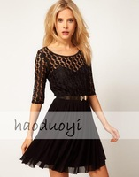 Womens half sleeve double level net dress with chifffon and lace patchwork belt dress for freeshipping and wholesale