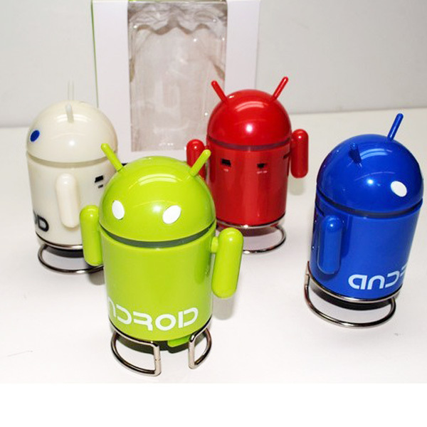 New Android Green/White/ Red/ Blue Robot Speaker For ipod/ iphone/ PC/ Laptop/ MP3 Player/ Cell Phones 5pcs 000229(China (Mainland))