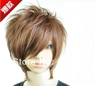 New Arrival!Free Shipping!Black,Brown Men's Heat Resistant Glueless Synthetic Wig Cap For Men Cheap Wigs Full Wig Indian Remy