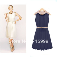 Free Shipping Milla Fashion White and Dark Blue Two Colors Dress Women's Chiffon Dress A0143