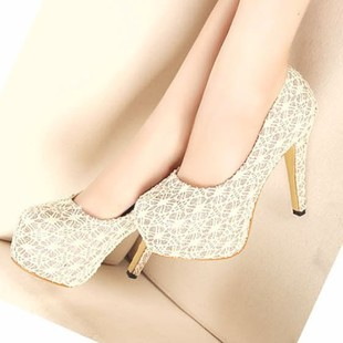 2013 spring single shoes female lace paillette women's high-heeled shoes princess red wedding shoes(China (Mainland))