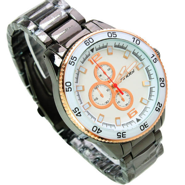 Rose gold high-grade three eye between six stitches quartz watches for men 151829 Free Shipping(China (Mainland))