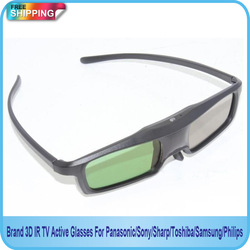 Free Shipping!!Brand 3D IR TV Active Glasses For Panasonic/Sony/Sharp/Toshiba/Samsung/Philips(China (Mainland))