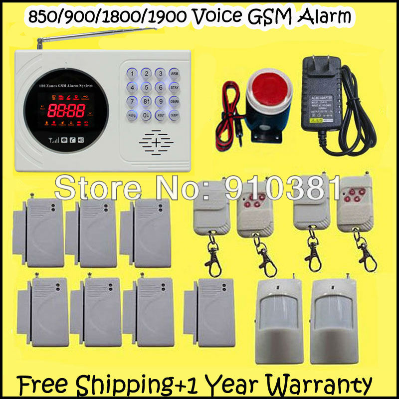 Free Shipping! 850/900/1800/1900 122 personal defense zone GSM remoto control arm/disarm smart Alarm Security System lcd display(China (Mainland))