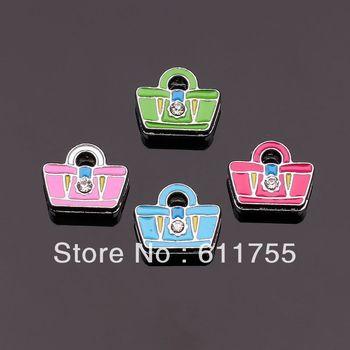 Free Shipping 50PCS 8MM Bag DIY Slide Charms A0167 Zinc Alloy 100% New Fit Wristband/ Belt /make Bracelet