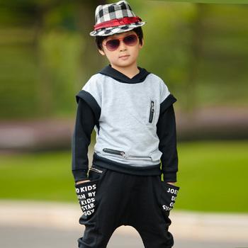 Child set male child boy color block decoration sweatshirt health pants casual male child sports set children's clothing