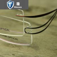 Mirror ultra-light beta . titanium rimless glasses myopia eyeglasses frame Men Women framework