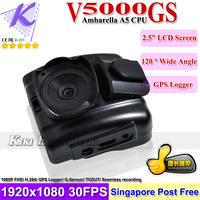 2013 Go Pro Car Camera Full HD Ambarella A5 CPU DVR Car Black Box GPS G-Sensor 1920*1080P 30FPS H.264 V5000GS Night Vision