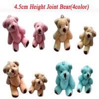 Wholesale 100pcs 4.5cm Mini Joint Bear Bare Teddy Bear Doll Cell Phone Pendant Cartoon Plush Stuffed Toy Doll 4color Mixed