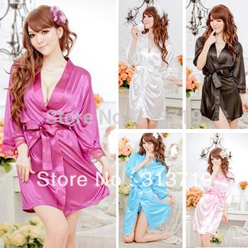 Women's Sleepwear ROBE Bathrobes+G-string Thongs Pajamas Lingerie SET Nightdress  free drop shipping XL012
