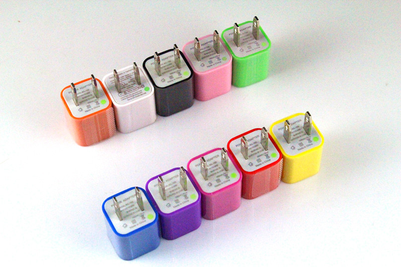 100pcs/lot US plug USB Wall Charger US Plug Travel Power Adapter for iPhone 5 4 iPod Mobilephone Colorful free ship(China (Mainland))