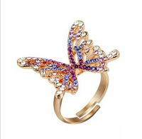 Min.order is $15 (mix order) Gold Plated Butterfly Head Finger Ring Size Adjustable