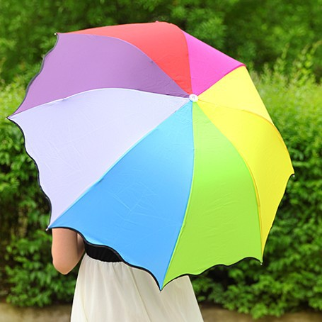 Long-handled Folding Umbrella Uv Protection Rainbow Umbrella Sun Protection Umbrella.Guaranteed 100% High Quality Free Shipping(China (Mainland))