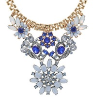 New coming blue and white flower full rhinestones Vintage Short necklace Luxury new fresh fashion jewelry W520