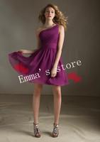 Платье для подружки невесты Designer New Discount Cheap Princess Sexy Formal A-Line Strapless Short Pleat Satin Purple Bridesmaid Dresses