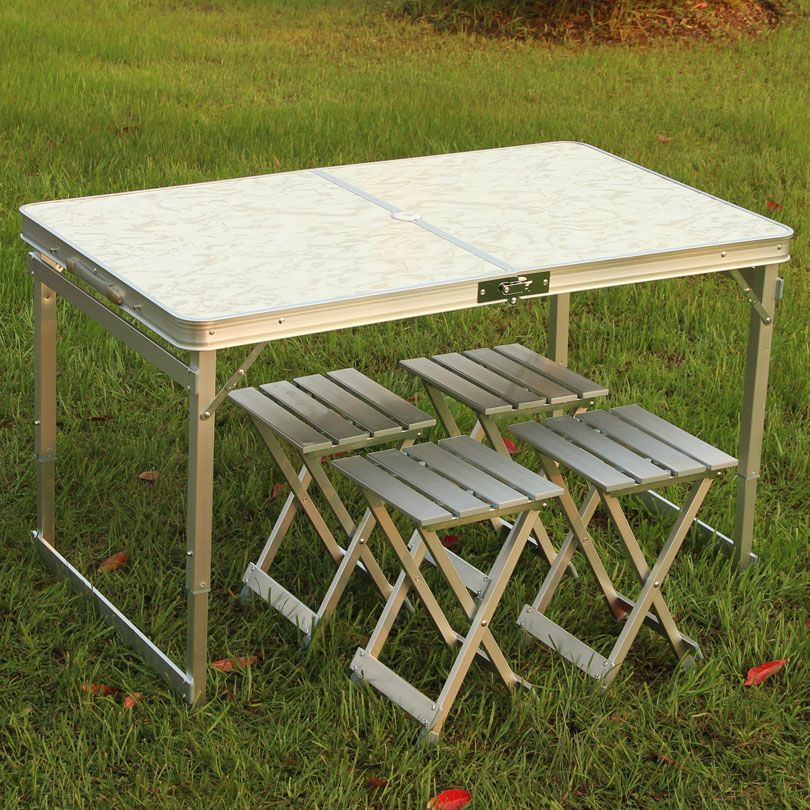 Outdoor thickening of the whole aluminum alloy split folding tables and chairs laptop portable desk car propaganda field(China (Mainland))
