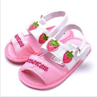 Pink Strawberry Sandals Baby Girls Spring and Summer Anti-slip Toddler Shoes Soft Bottom 3 sizes / 6 pair lot KB4044(China (Mainland))