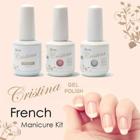 Cristina UV Gel Nail Polish French Manicure Kit Top Coat+1323+1504 Three Pcs One Set drop shipping