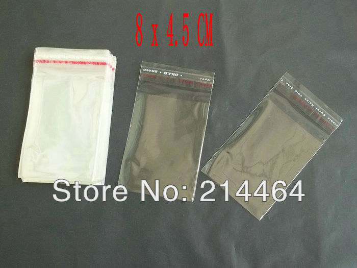 Clear Self Adhesive Seal Plastic pack Bags 8x4.5cm Small adorn article packaging bag(China (Mainland))
