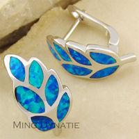 Pacific Blue Fire Opal Silver Fashion  Jewelry Women Stud Earrings  OE700L  Wholesale & Retail