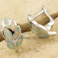 White Fire Opal Silver Fashion Tree Leaf  Jewelry Women Stud Earrings  OE700B  Wholesale & Retail
