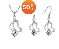 Holiday Gift imitation diamond white gold plated fashion jewelry set women necklace earrings set H03D2