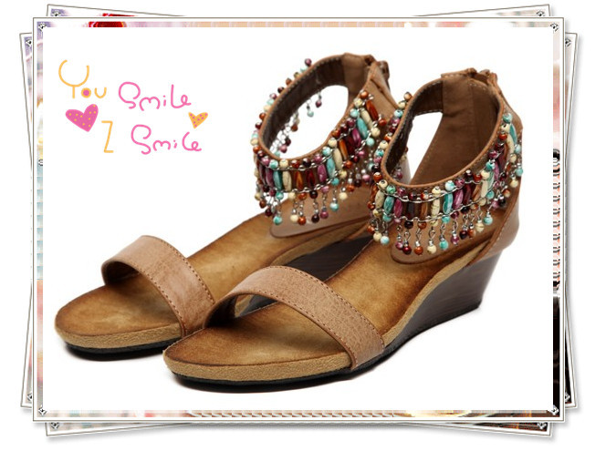 Free shipping 2013 summer new color beaded national wind slope with open-toed shoes sandals(China (Mainland))