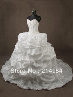 Best Quality Free Shipping Taffeta Ball Gown Sweetheart Chapel Train Puffy Wedding Dress Bridal Gowns 2013 Real Sample
